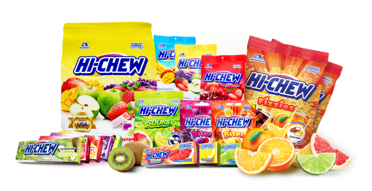 Various bags and packages of Hi-CHew Products